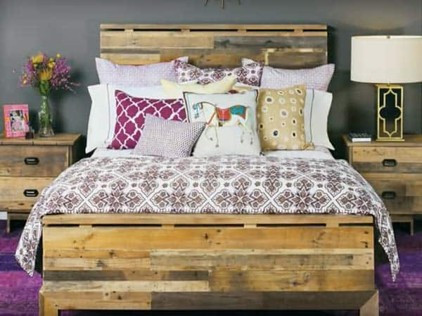 recycled wooden pallet bed headboard cupboard