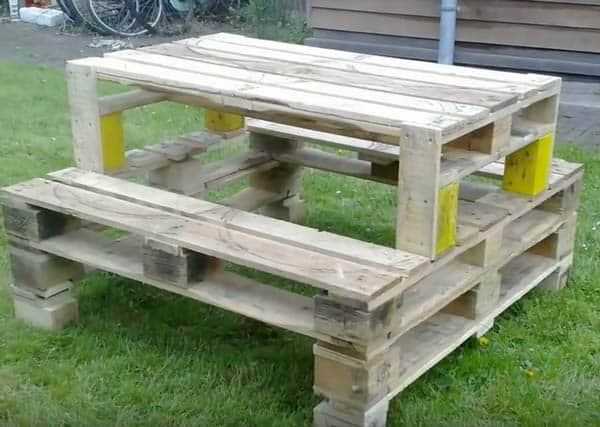 Reclaimed wood projects garden table bench seating