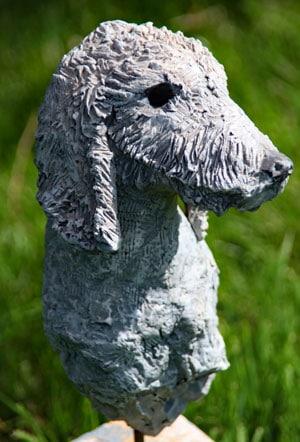 modelling in sculpture bedlington terrier
