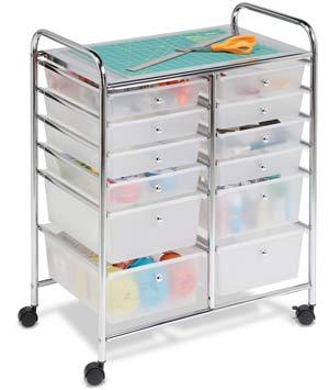 honey-can-do-12-drawer-chrome-studio-organiser-cart