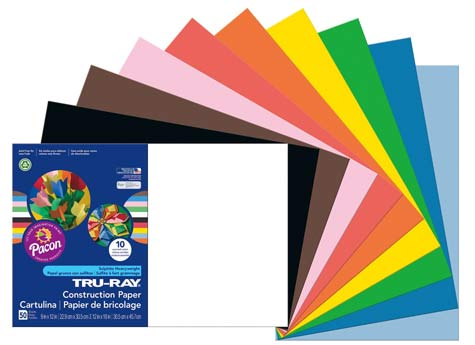 "6555 Pacon Lightweight Construction Paper 9/"" By 12/"" Assorted Colors 500 Count"