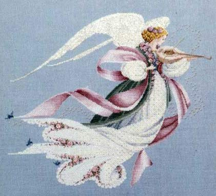 angel of spring lavender and lace cross stitch