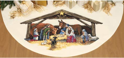 dimensions-nativity-tree-skirt-cross-stitch-patterns