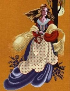 evangeline lavender and lace cross stitch