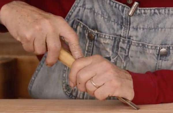 hand positions using a gouge carving chisel image