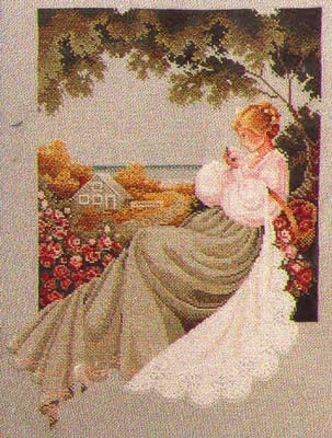nantucket rose lavender and lace cross stitch