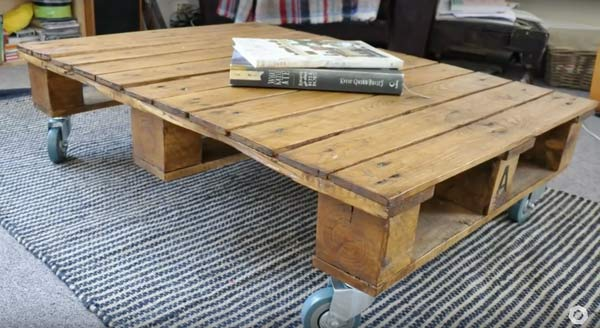 furniture made from pallets coffee table on casters
