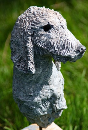 modelling in sculpture bedlington terrier
