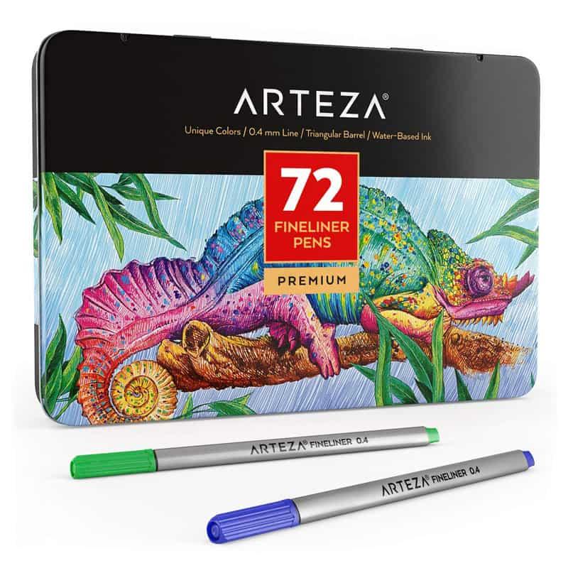 arteza fine liner 72 pen set